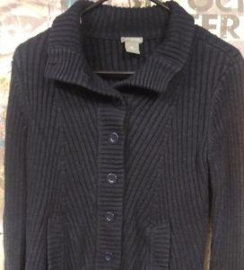 Ann Taylor large button sweater black size M